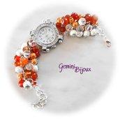 Orologio-bracciale donna con grappolo di perle arancio, crystal, silver