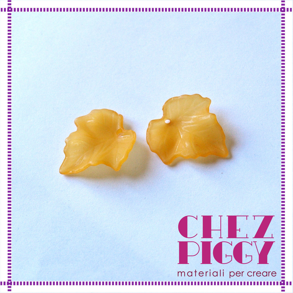 2 x perle a forma di foglia di vite - ARANCIO