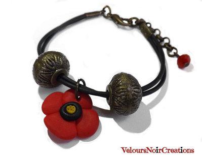 Bracciale papavero in fimo componenti bronzo vintage