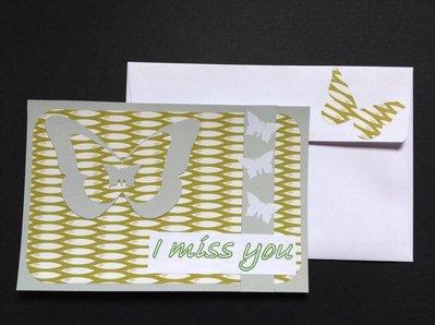"""Biglietto """"I miss you"""" grigio"""