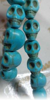 10 Mini Perline Teschi Pietra Sintetica TURCHESE