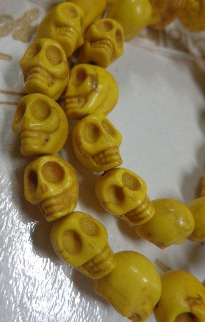 10 Mini Perline Teschi Pietra Sintetica GIALLO