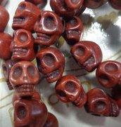 15 Mini Perline Teschi Pietra Sintetica MARRONE