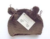 Cappello con orecchiette da orsacchiotto realizzato ai ferri-28 colori disponibili e più taglie
