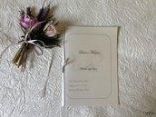 Libretto per messa degli sposi in carta perlata con nastro e fiocco in raso