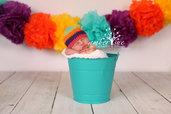 """Cappello """"beanie"""" all'uncinetto-cappello bambina multicolor in cotone-primavera/etstate"""