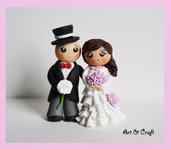 Coppia di sposi in fimo