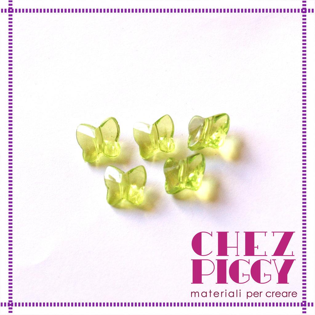 10 x perle a forma di farfalla - VERDE