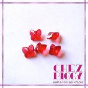 10 x perle a forma di farfalla - ROSSO