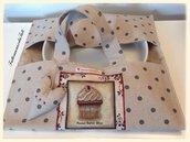 Porta torta in cotone a pois con appliquè pasticcino
