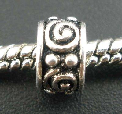5x perle a foro largo argento antico