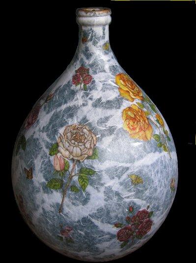 Damigiana decoupage su vetro per la casa e per te for Decoupage su vaso di vetro