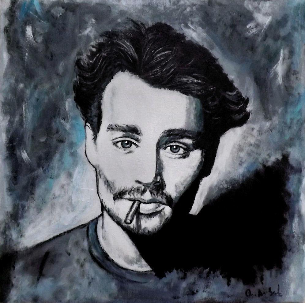 ritratto Johonny Depp acrilico su tela dipinto a mano pop art