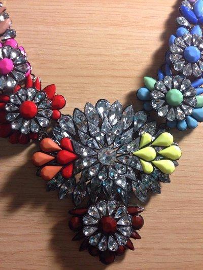 Collana Fiore collana di perline, bolla Bib Necklace, collana Neon cristallo arcobaleno, damigelle matrimonio regalo