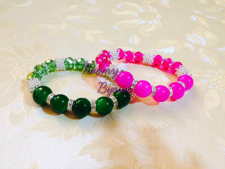 Bracciale pietre acriliche colorate