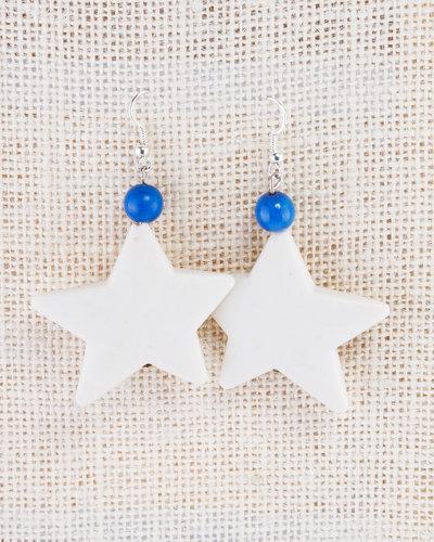 orecchini stella, fatti a mano, pendenti, avorio