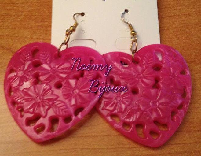 orecchini resina forma di cuore
