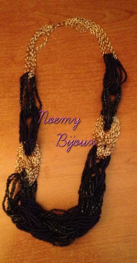 collana perline nere e catena lunga