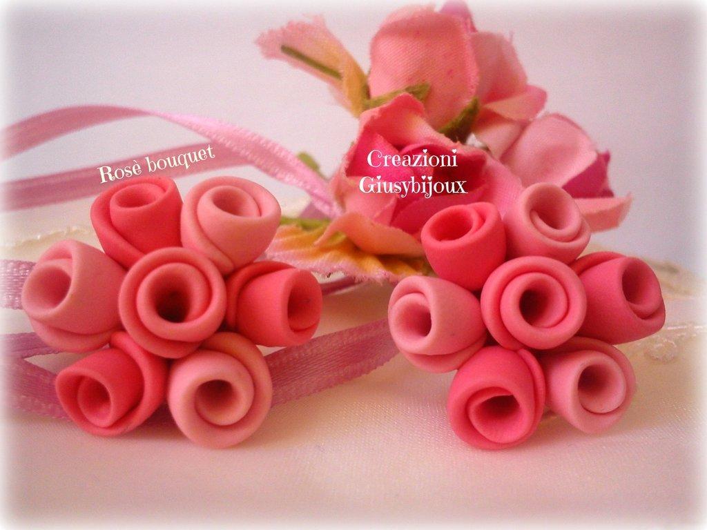 Orecchini a lobo rosè bouquet in fimo collezione bouquet di rose rosa fatto a mano