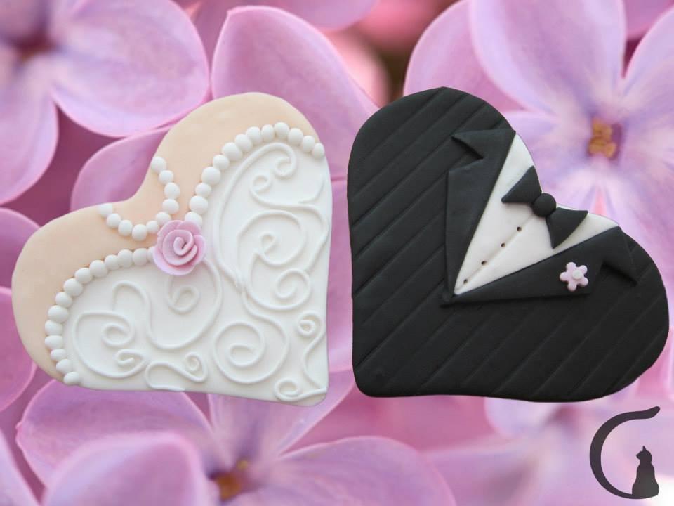 Cuori sposa e sposo realizzati e decorati a mano in pasta fimo