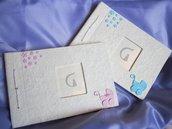 Album portafoto in carta cotone decorato a mano utilizzando pasta FIMO