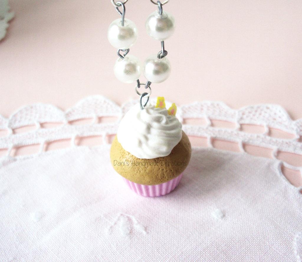 Collana Cupcake in fimo e perle bianche
