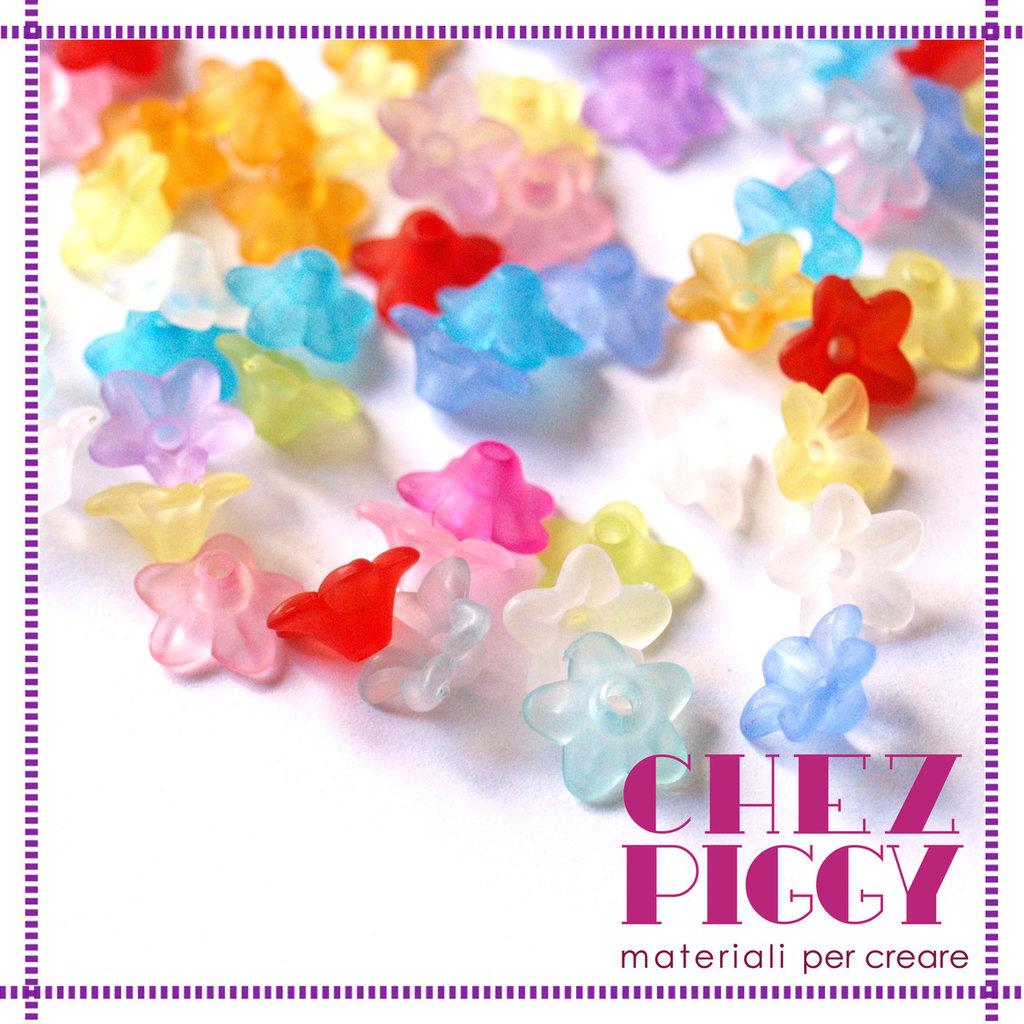 50 x perle a forma di fiorellino -