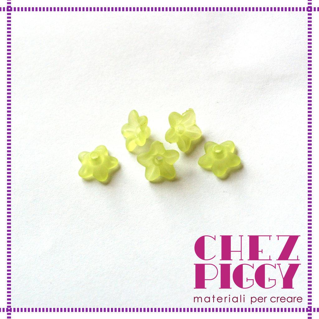 10 x perle a forma di fiorellino - VERDE