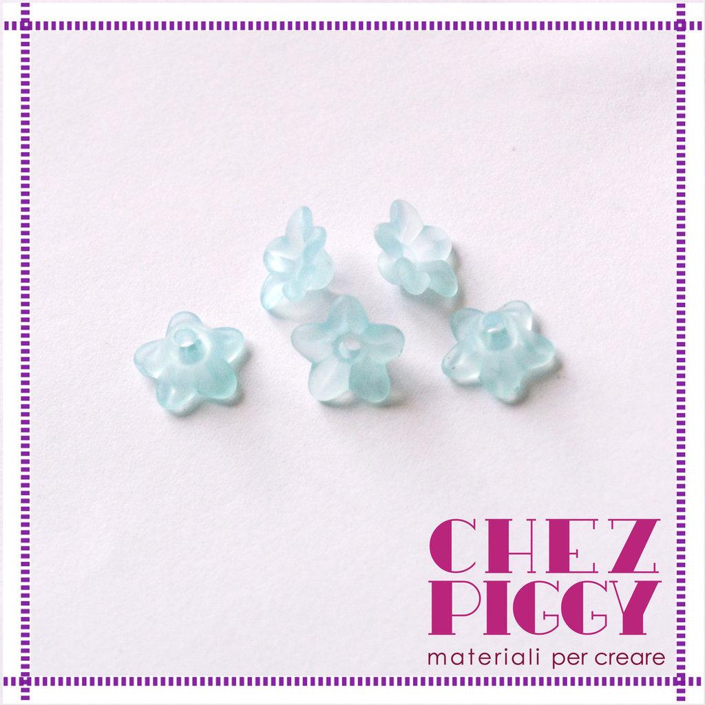 10 x perle a forma di fiorellino - CELESTE