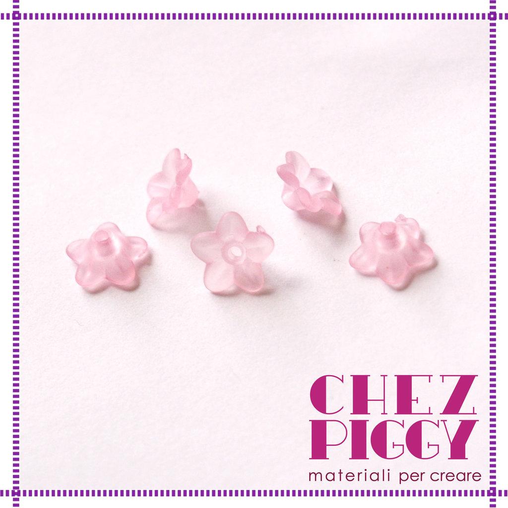 10 x perle a forma di fiorellino - ROSA