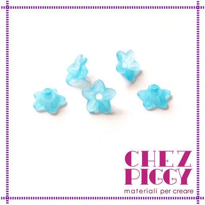 10 x perle a forma di fiorellino - AZZURRO