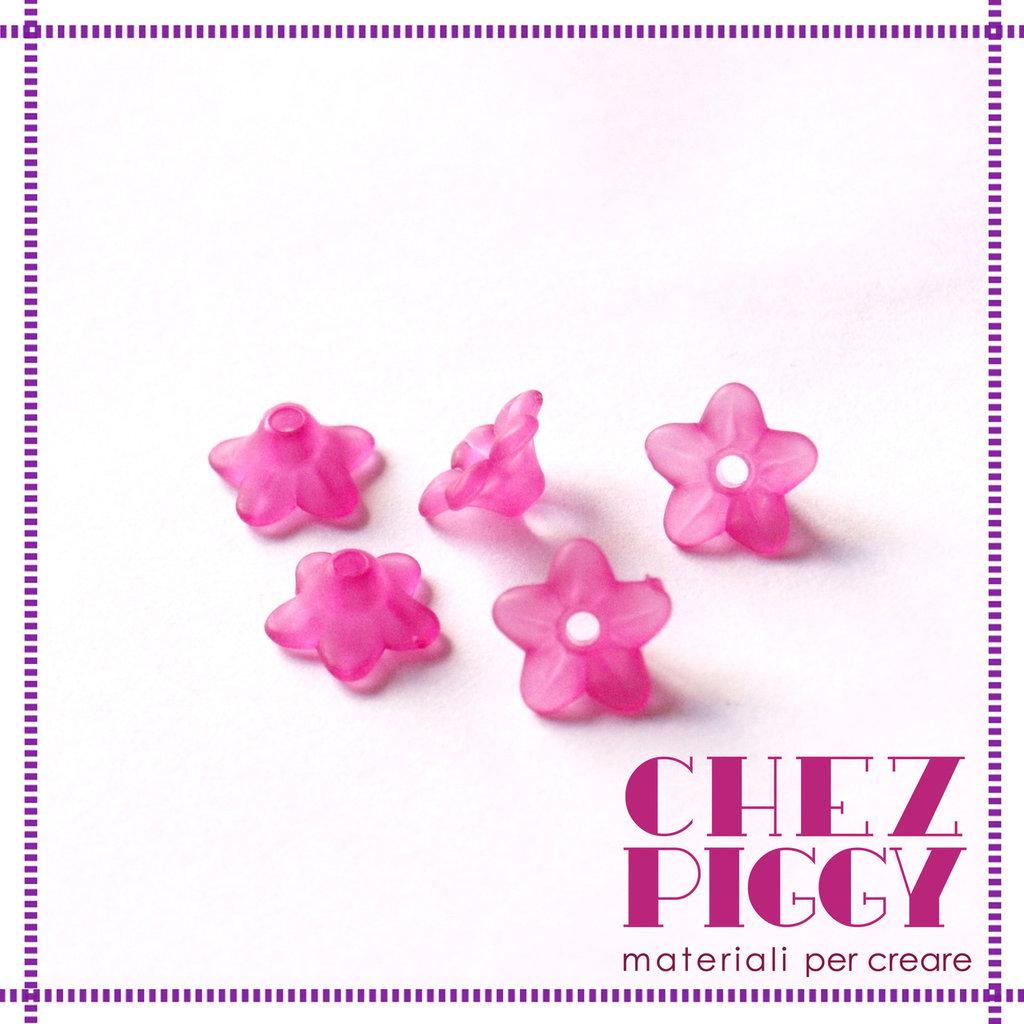10 x perle a forma di fiorellino - PINK ROSA