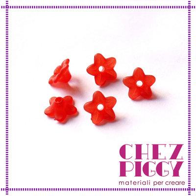 10 x perle a forma di fiorellino - ROSSO
