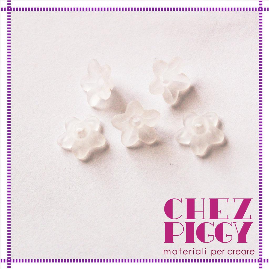 10 x perle a forma di fiorellino - BIANCO