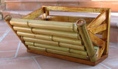 Fioriera rivestita in bambù