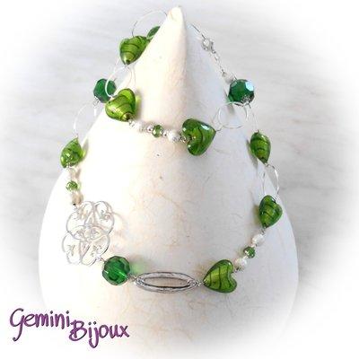 Collana lunga cuori in vetro foglia argento verde