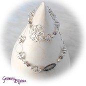 Collana lunga cuori in vetro foglia argento bianco
