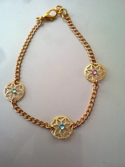 _bracciale color oro con strass_