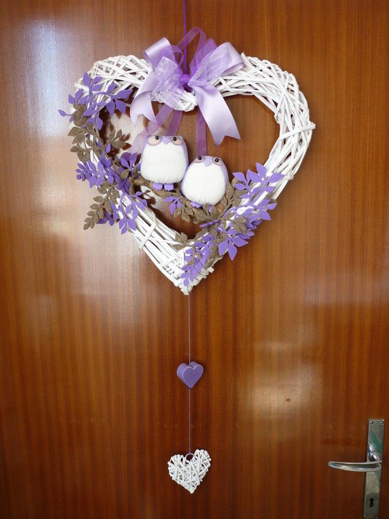 Fuoriporta profumato con gufetti in un cuore in vimini - tutto fatto a mano... ottima idea regalo!