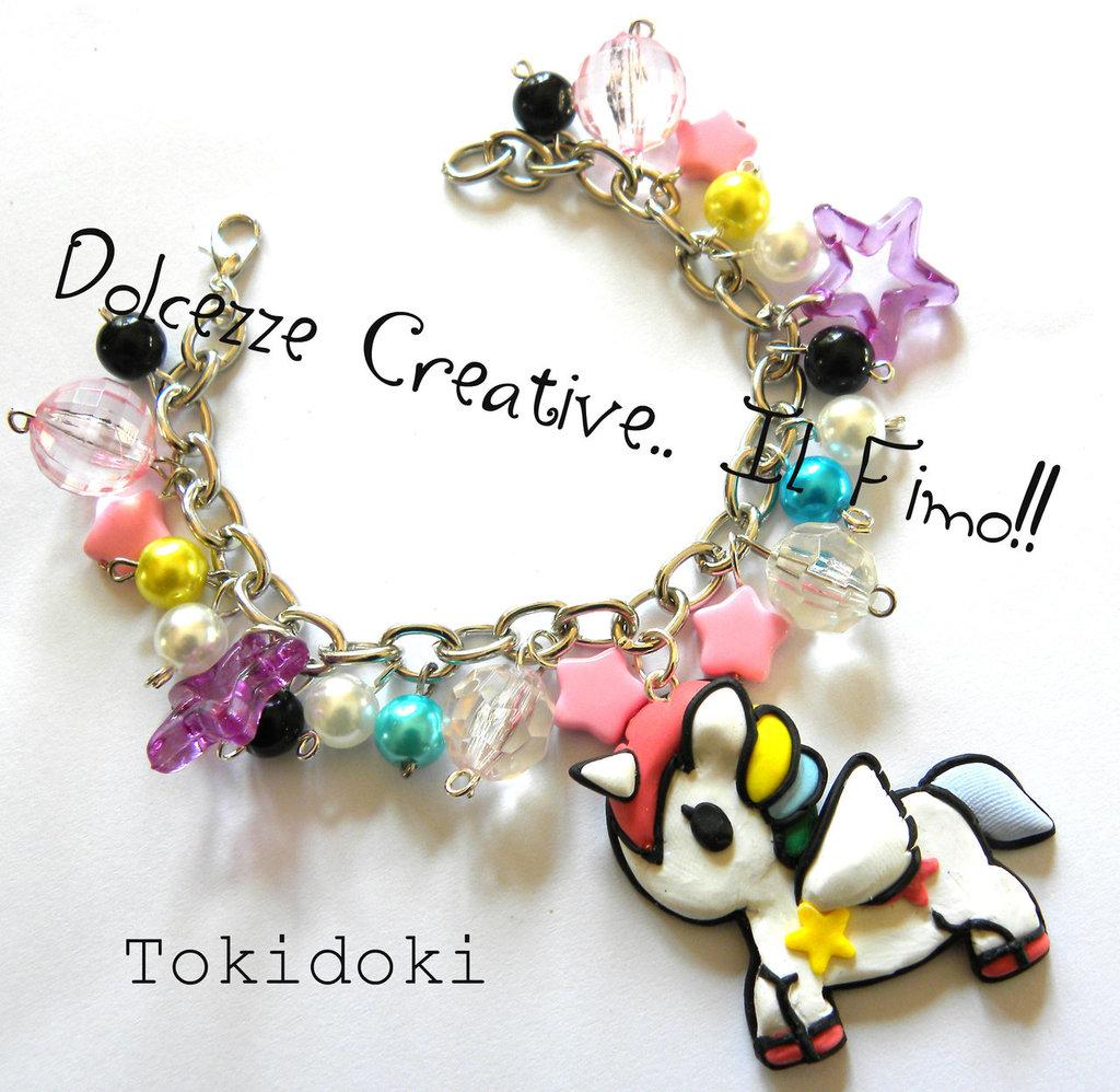 Bracciale Tokidoki Unicorno kawaii stelle e perle