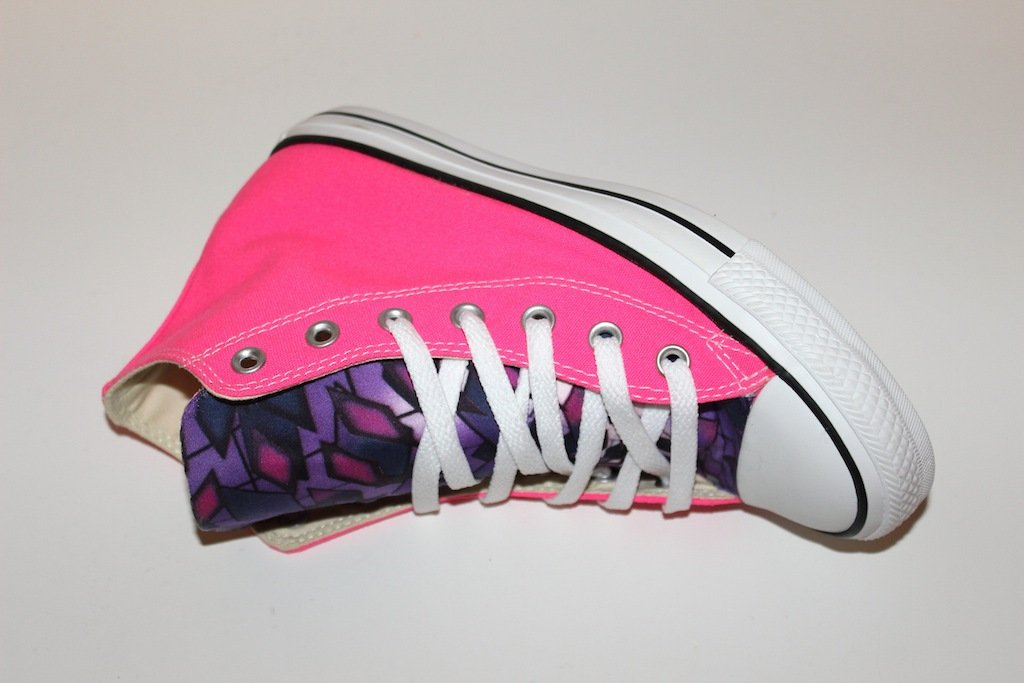 Converse fucsia fluo customized by ILoveSneakers