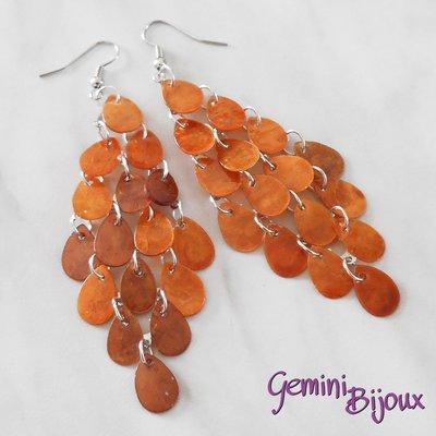 Orecchini gocce di madreperla arancio rame