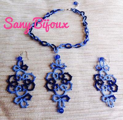 Orecchini pendenti e collana in chiacchierino blu sfumato