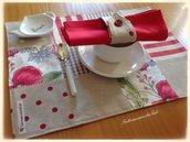 Tovagliette patchwork in cotone sui toni rossi/ecrù con tovagliolo e portatovagliolo