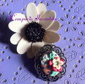 """Spilla cammeo """"Colori in Fiore"""" modellata in fimo"""