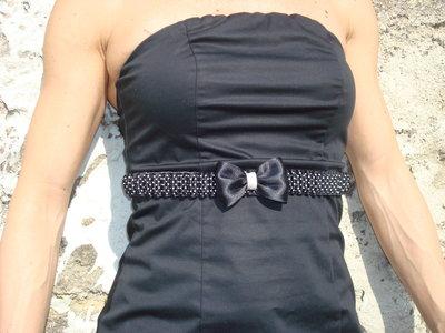 Cintura elastica nera a pois
