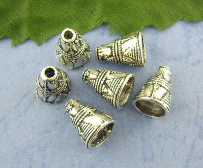 5 coppette Perle  a cono Argento antico 11x9mm