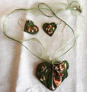 Collana cuore doppio e orecchini