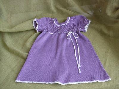 vestito bimba lilla cotone ricamato a mano