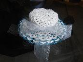 cappellino  bomboniera fatto con le perline